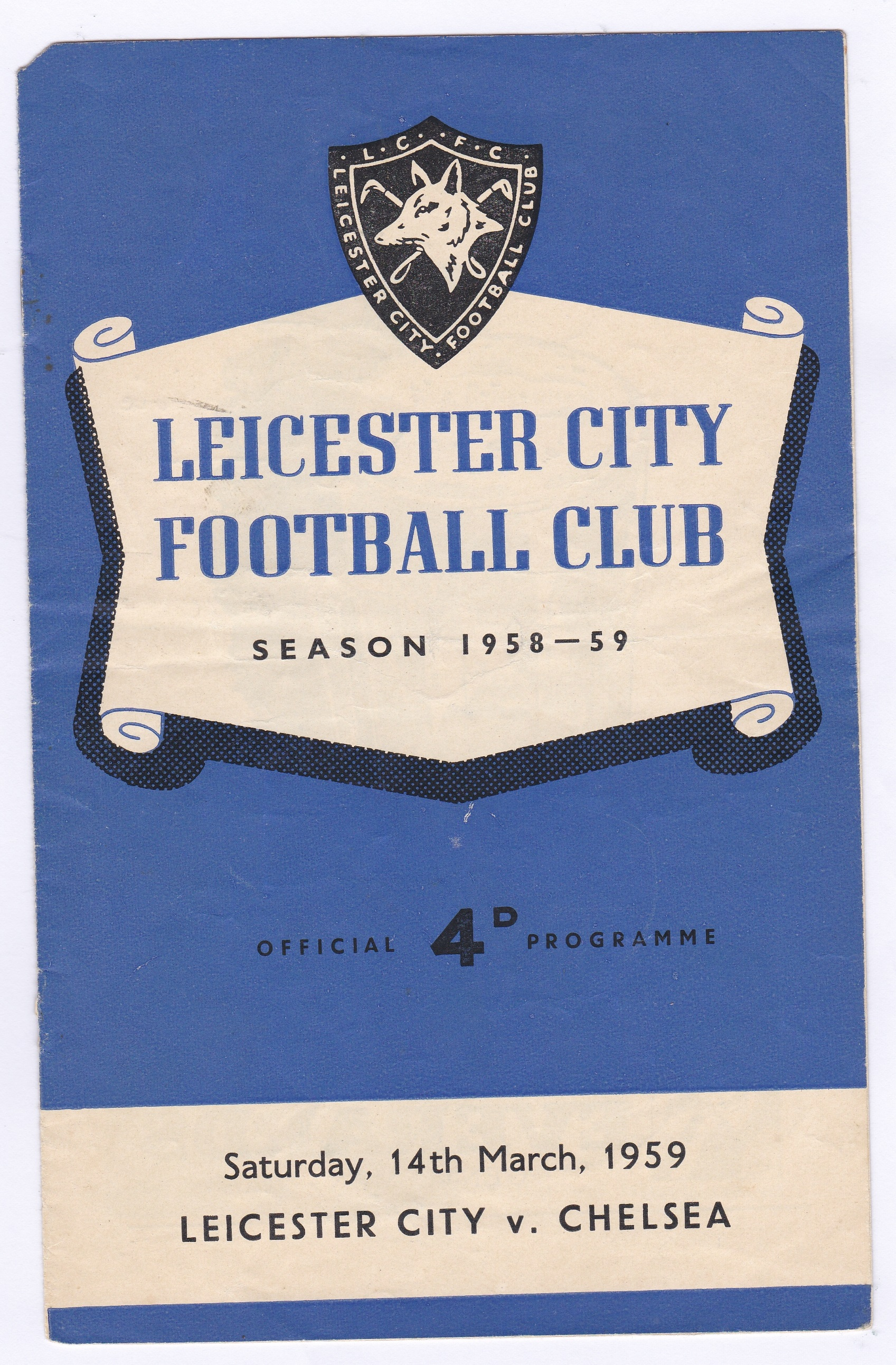 Leicester City v Chelsea 1959 March 14th Div. 1 horizontal crease