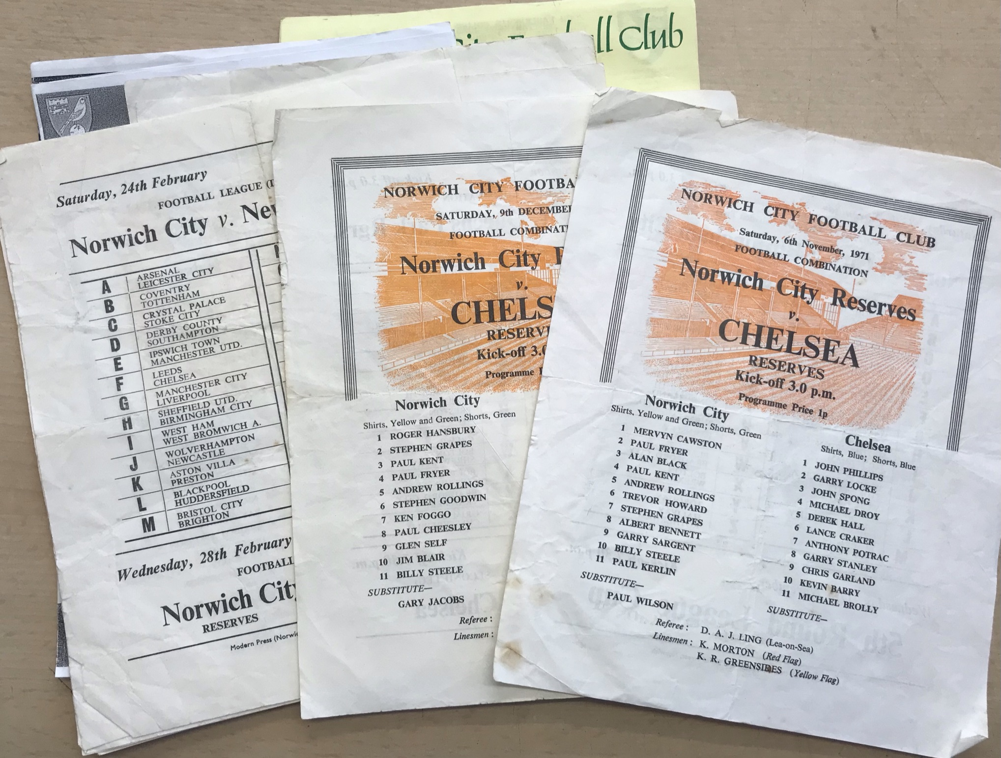 Norwich City Reserves 1971-73 - Chelsea Reserves 9 Dec 1972. Chelsea Reserves v Arsenal Reserves