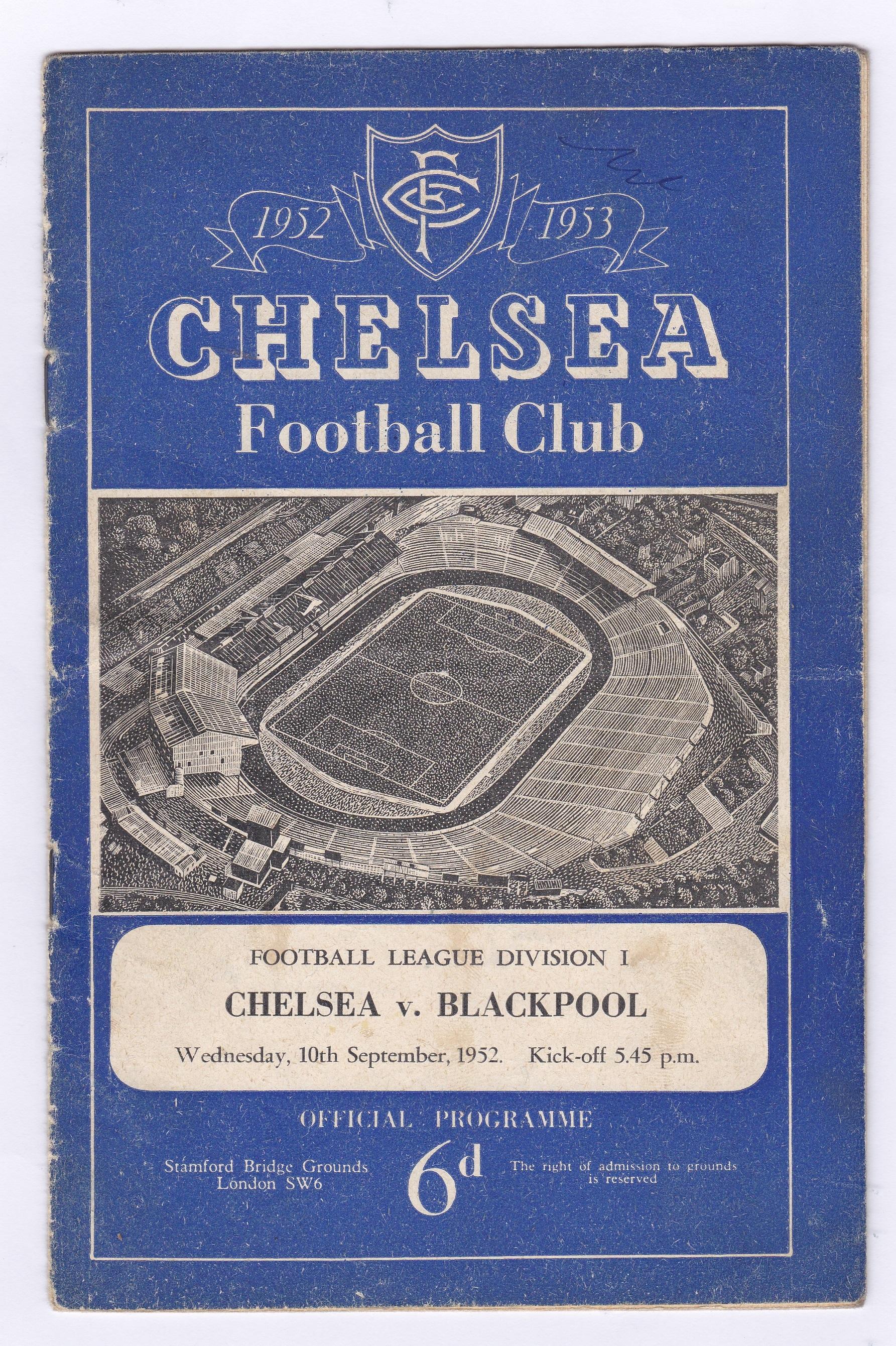 Chelsea v Blackpool 1952 10th September League Division 1 vertical crease
