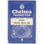 Chelsea v Preston North End 1956 August 25th Div. 1 team change in pencil rusty staples bottom