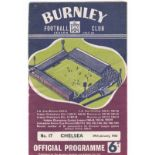 Burnley v Chelsea 1966 January 29th League small hole back cover upper right
