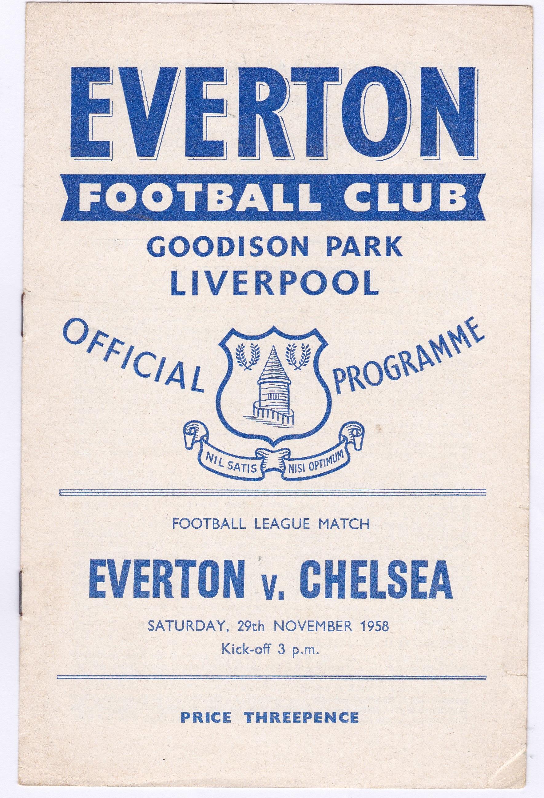 Everton v Chelsea 1958 Div. 1 November 29th