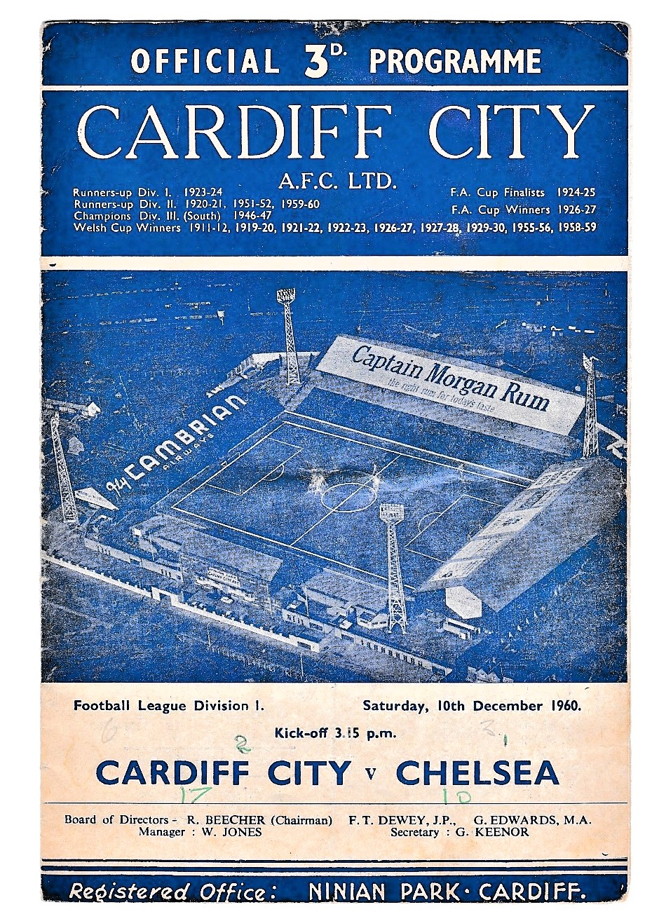 Cardiff City v Chelsea 1960 December 10th League horizontal crease score front & back covers in pen