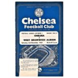 Chelsea v West Bromwich Albion 1960 December 3rd League horizontal crease piece front cover