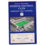 Everton v Chelsea 1957 September 7th Div. 1 no staple pages loose