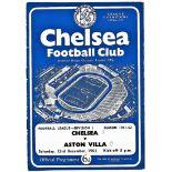 Chelsea v Aston Villa 1961 December 23rd League vertical crease score front cover in pen
