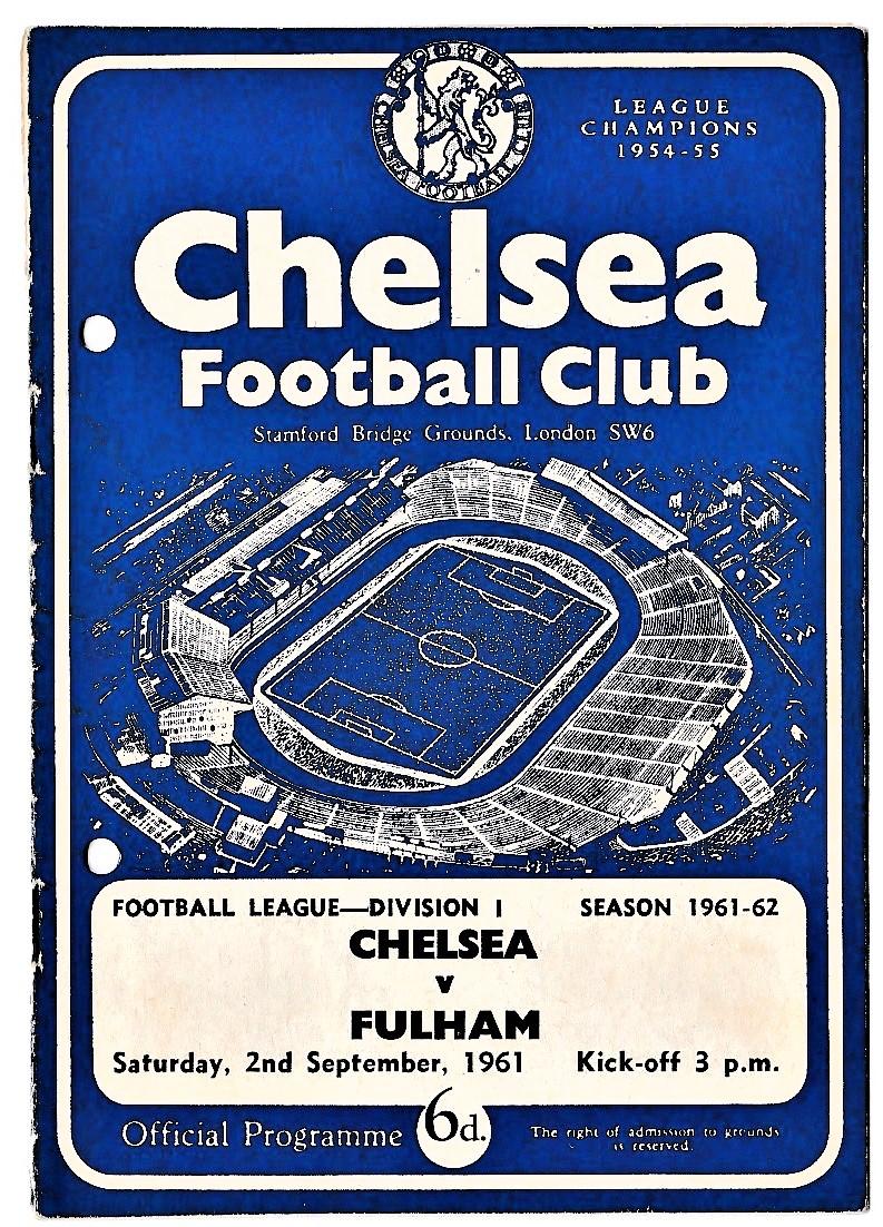 Chelsea v Fulham 1961 September 2nd League hole punched left