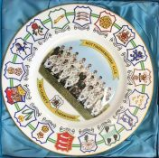 """Nottinghamshire CCC 1981 County Champions, Coalport 10.5"""" plate, County Crests surrounding a team"""