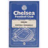 Chelsea v Sheffield Wednesday 1956 September 19th Div. 1 vertical crease rusty staples