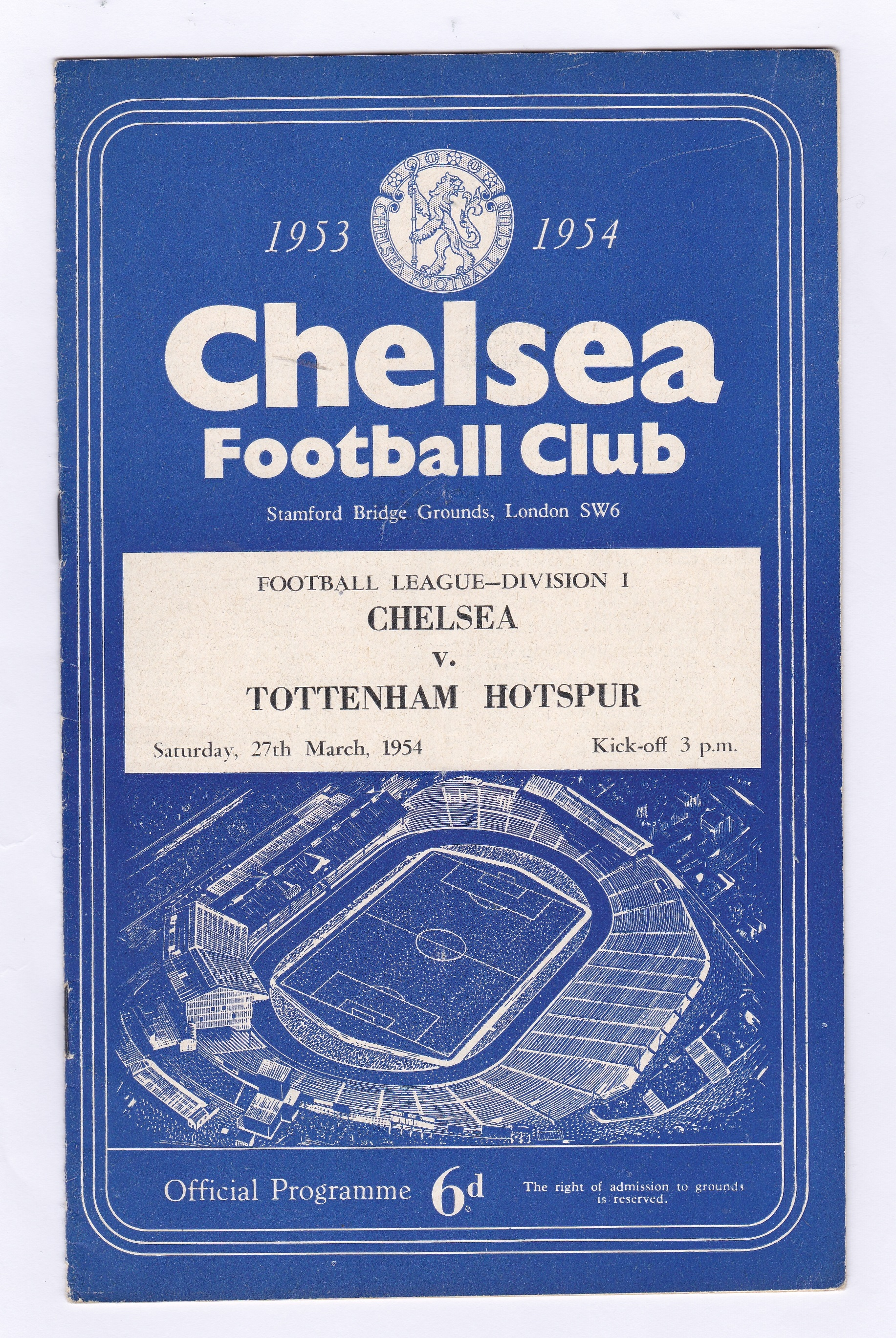 Chelsea v Tottenham Hotspur 1954 27th March League Division 1 vertical crease team change in pen
