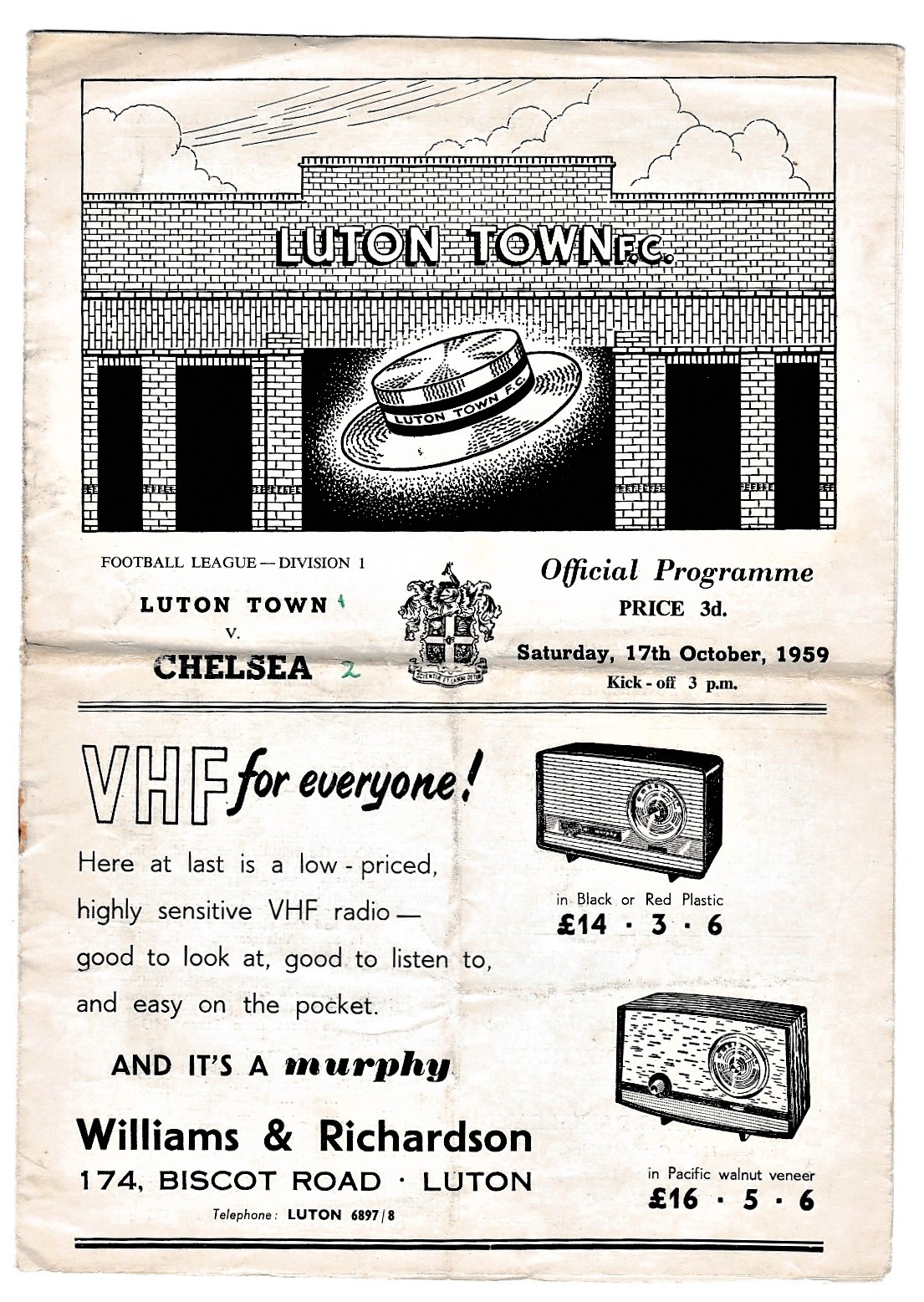 Luton Town v Chelsea 1959 October 17th League horizontal & verticals creases rusty staple score in