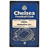 Chelsea v Birmingham City 1961 March 4th League light crease score & team change in pen