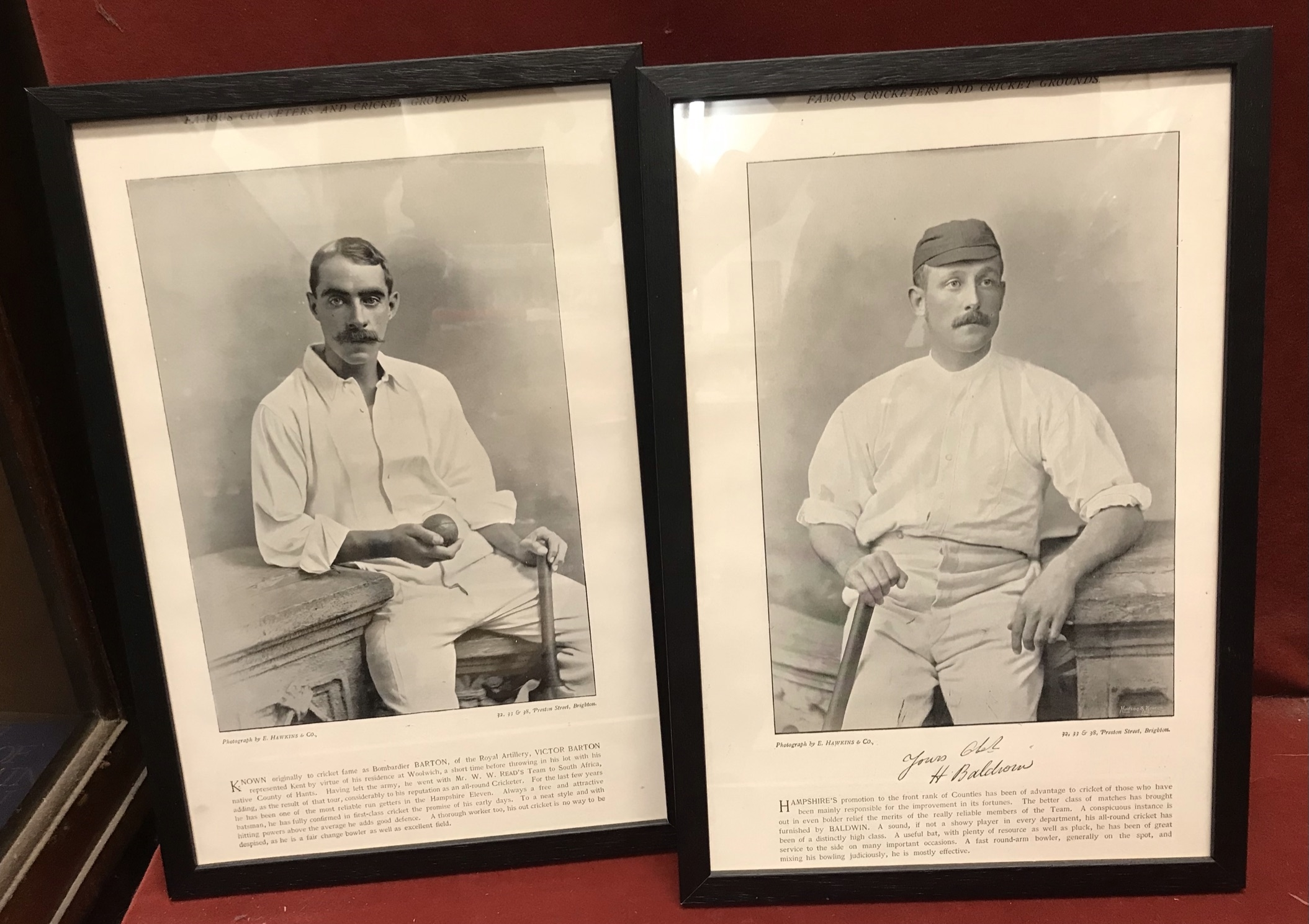 """Victorian Cricketers - Black and white photographs 7"""" x 12"""" Printed in """"Famous Cricketers and - Image 2 of 2"""