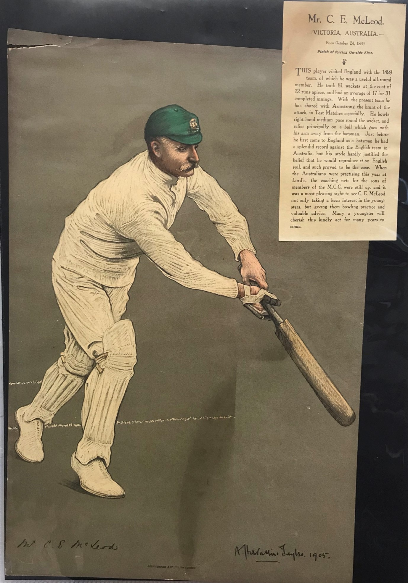 Australia (Victoria) and Tests 1905 colour print of Mr C E McLeod Batting by Chevalier Taylor. Small