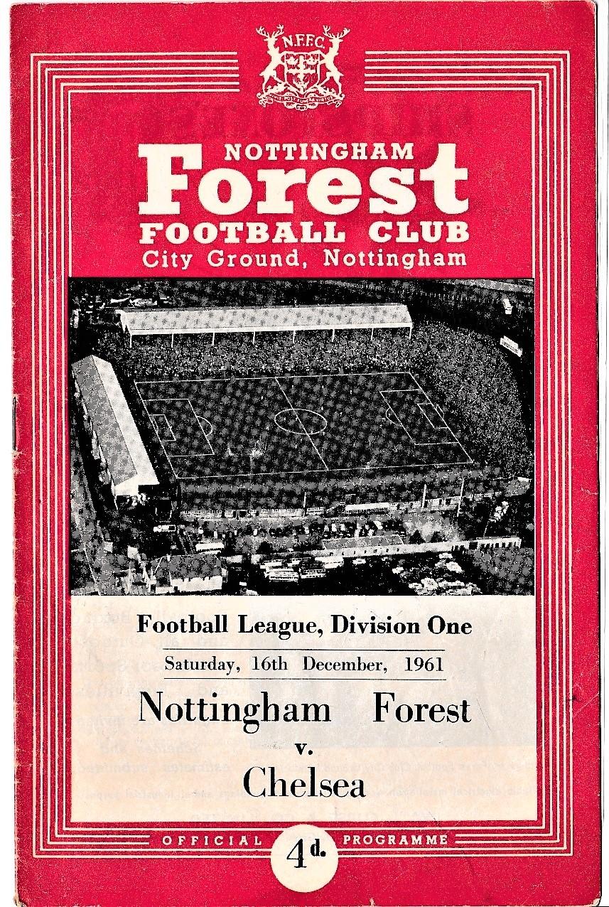 Nottingham Forest v Chelsea 1961 December 16th League pen mark & number on back cover