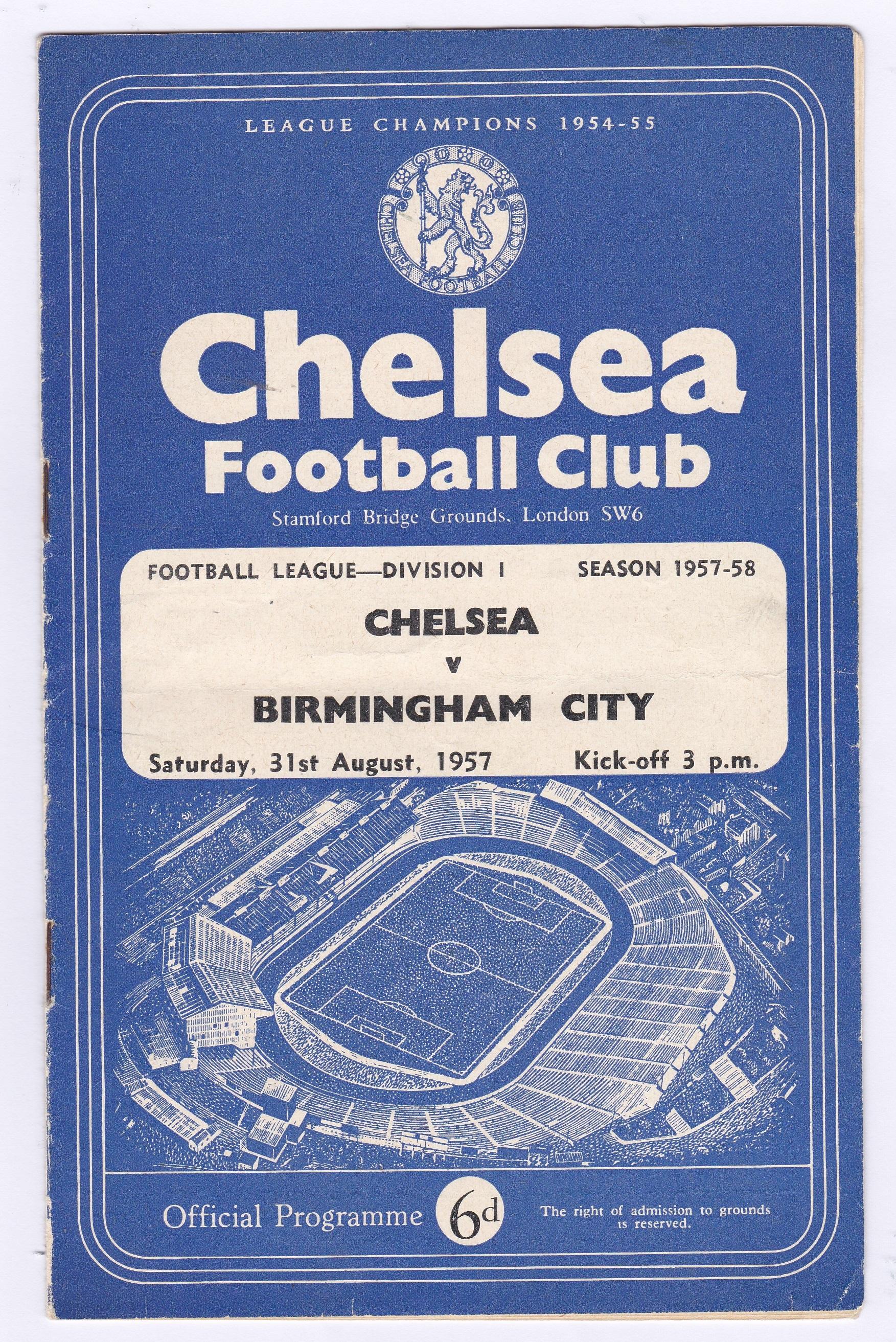 Chelsea v Birmingham City 1957 August 31st Div. 1 horizontal crease team change in pen