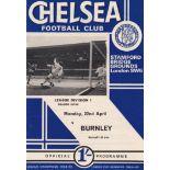 Chelsea v Burnley 1968 April 22nd League