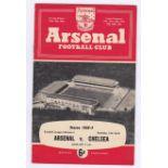 Arsenal v Chelsea 1959 April 11th Div. 1 vertical crease score team change in pen