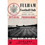 Fulham v Chelsea 1962 January 13th League team change in pen crinkle creasing
