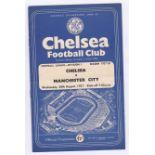 Chelsea v Manchester City 1957 August 28th Div. 1 horizontal crease score in pen