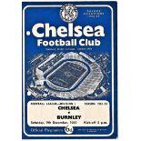 Chelsea v Burnley 1961 December 9th League vertical creases team change in pen hole punched left