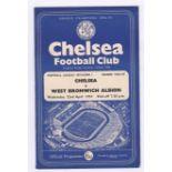 Chelsea v West Bromwich Albion 1959 April 22nd Div. 1 vertical crease