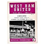 West Ham United v Chelsea 1965 November 13th League team change and score in pen vertical crease