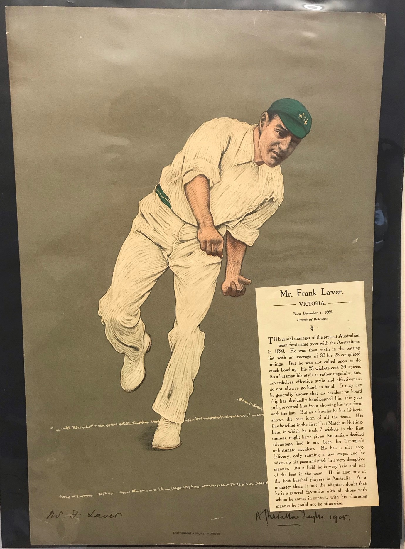 Australia (Victoria) 1905 colour print of Mr Frank Laver, First Test 1889 bowling, by Chevalier