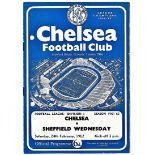 Chelsea v Sheffield Wednesday 1962 February 24th League team change in pen half time scoreboard in