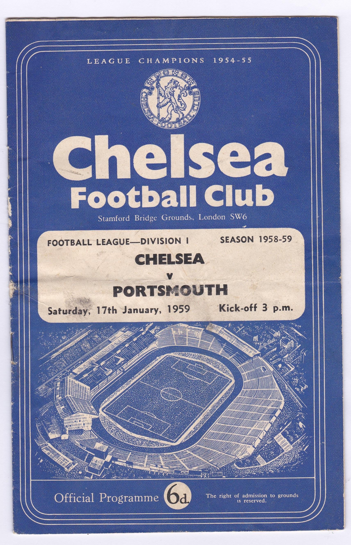 Chelsea v Portsmouth 1959 January 17th Div. 1 horizontal & vertical creases