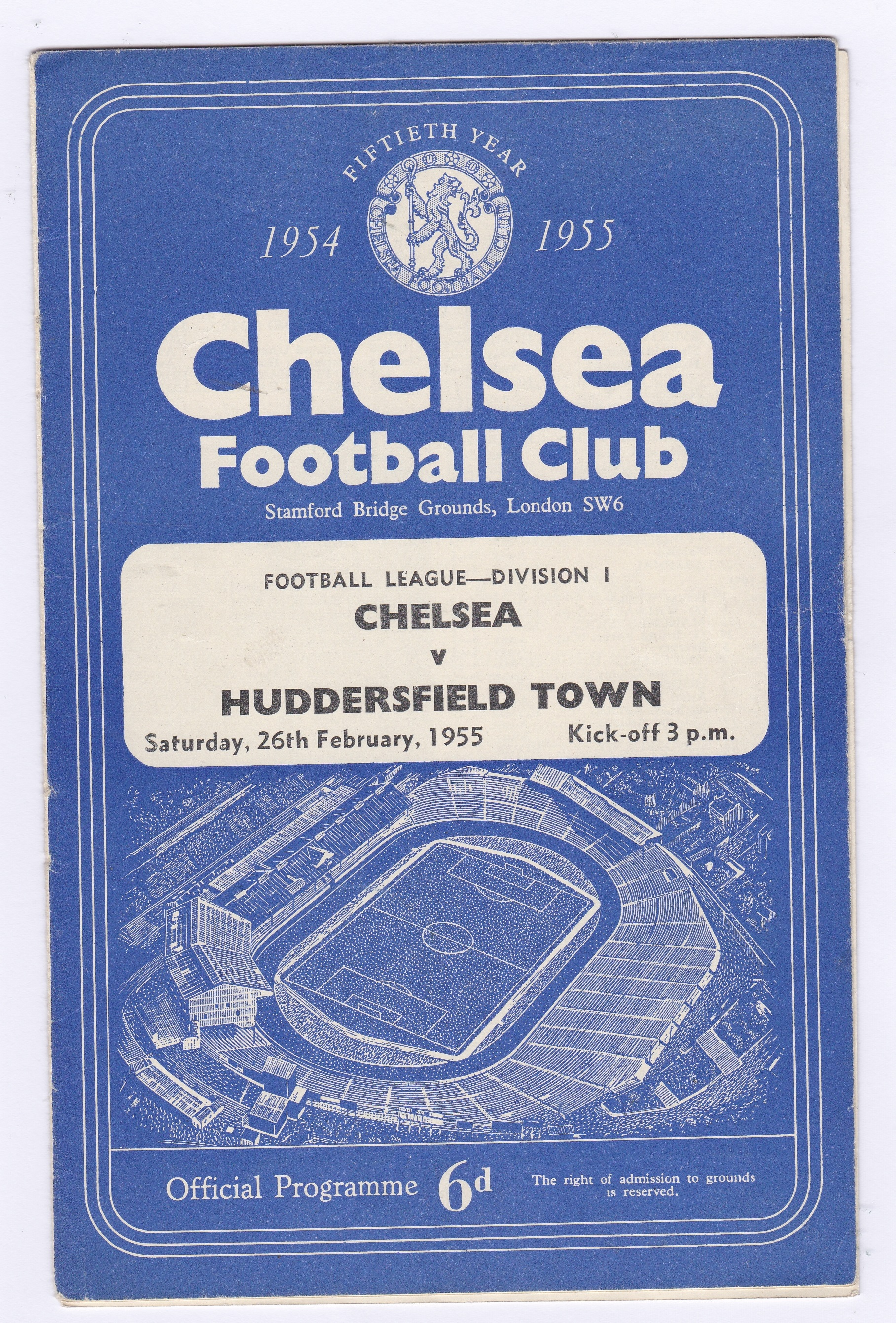 Chelsea v Huddersfield Town 1955 February 26th Div. 1 no staple pages loose