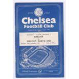 Chelsea v Preston North End 1953 28th November League Division 1 team change in pen rusty staples