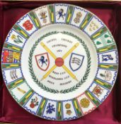"""Kent and Middlesex 1977 County Cricket Champions (Joint holders) Coalport 10.5"""" Commemorative Plate,"""