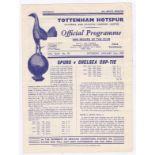 Tottenham Hotspur v Chelsea 1957 January 26th Div. 1 scores in pencil