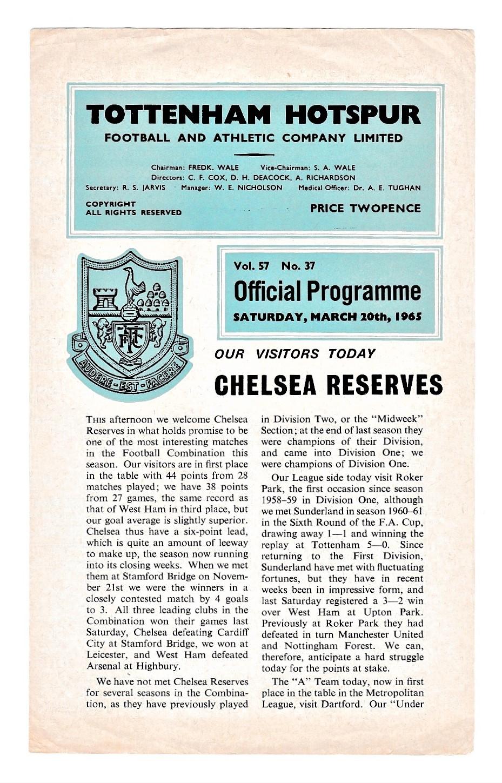 Tottenham Hotspur v Chelsea Reserves 1965 March 10th Football Combination