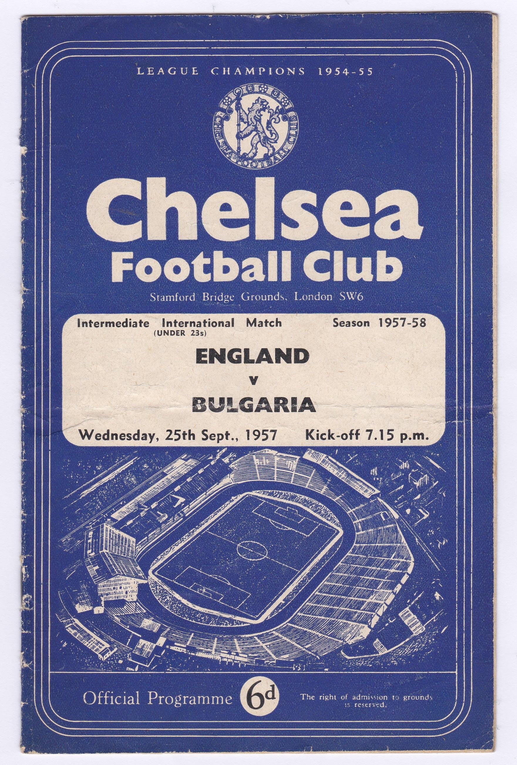 England v Bulgaria 1957 September 25th Intermediate International Match under 23's horizontal &