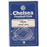 Chelsea v Aston Villa 1959 January 24th FA Cup Fourth Round vertical crease hole punched left