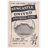 Newcastle United v Chelsea 1957 September 14th Div. 1 score in pen