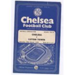 Chelsea v Luton Town 1959 March 28th Combination scores team change in pencil