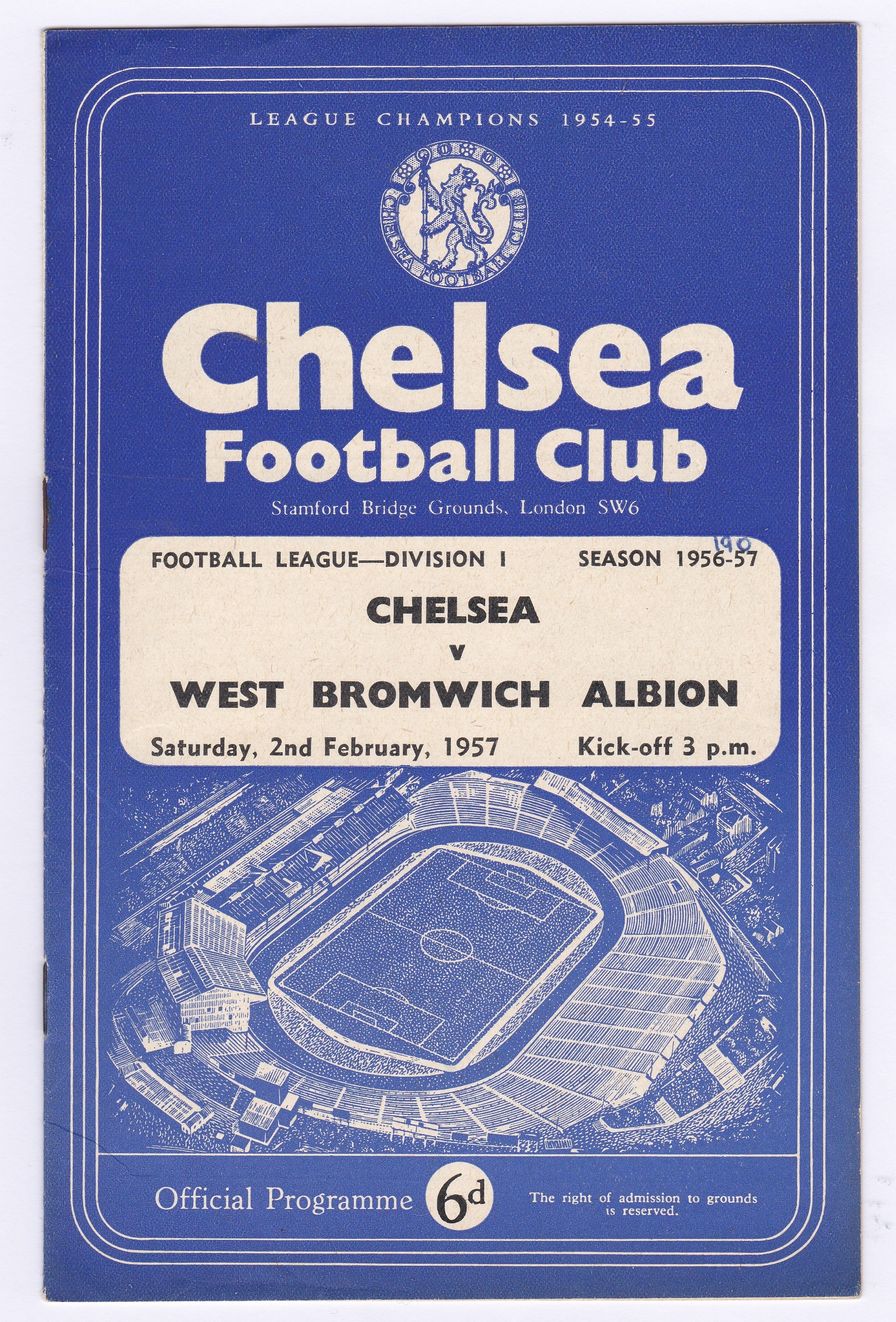 Chelsea v West Bromwich Albion 1957 February 2nd Div. 1 score in pen