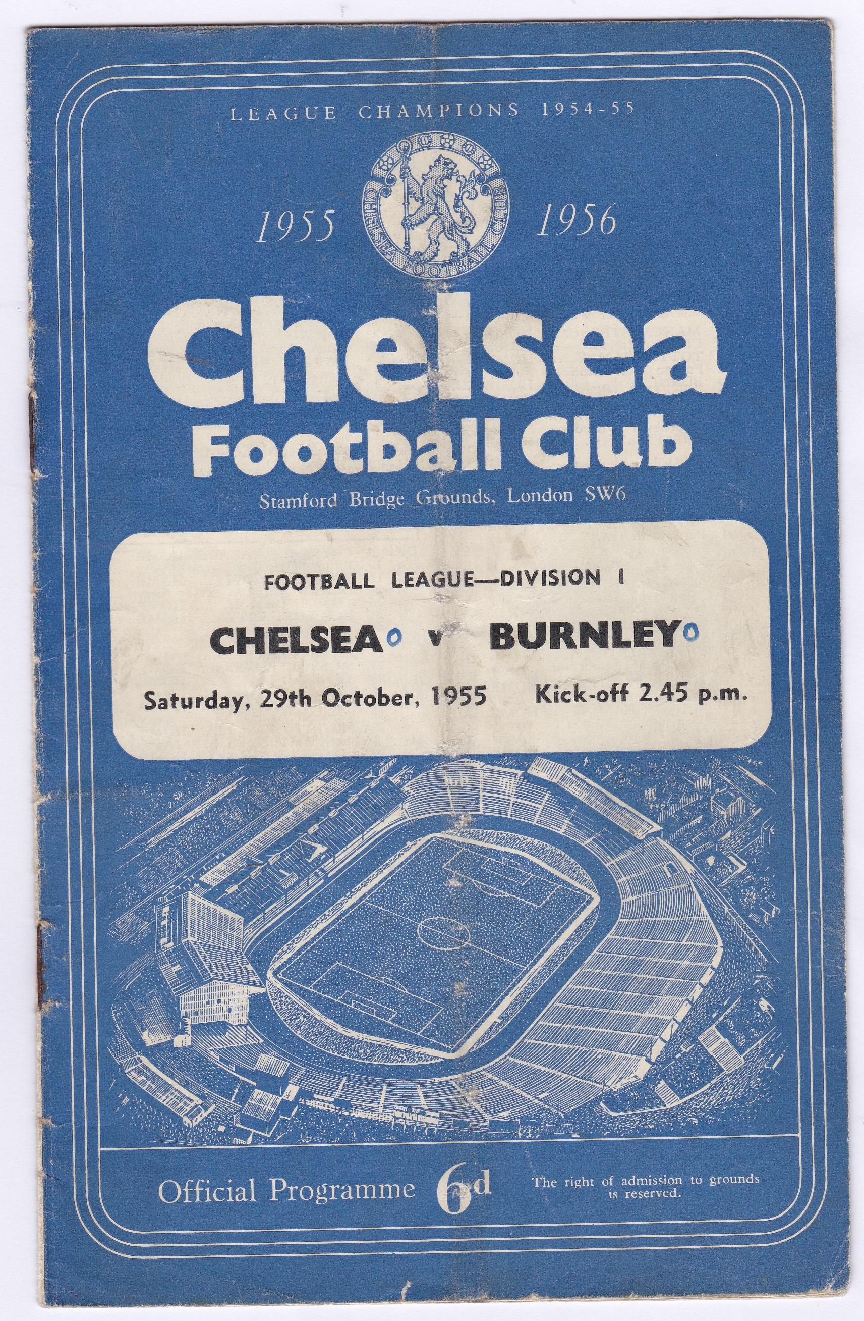 Chelsea v Burnley 1955 October 29th Div.1 vertical crease rusty staples score in pen front