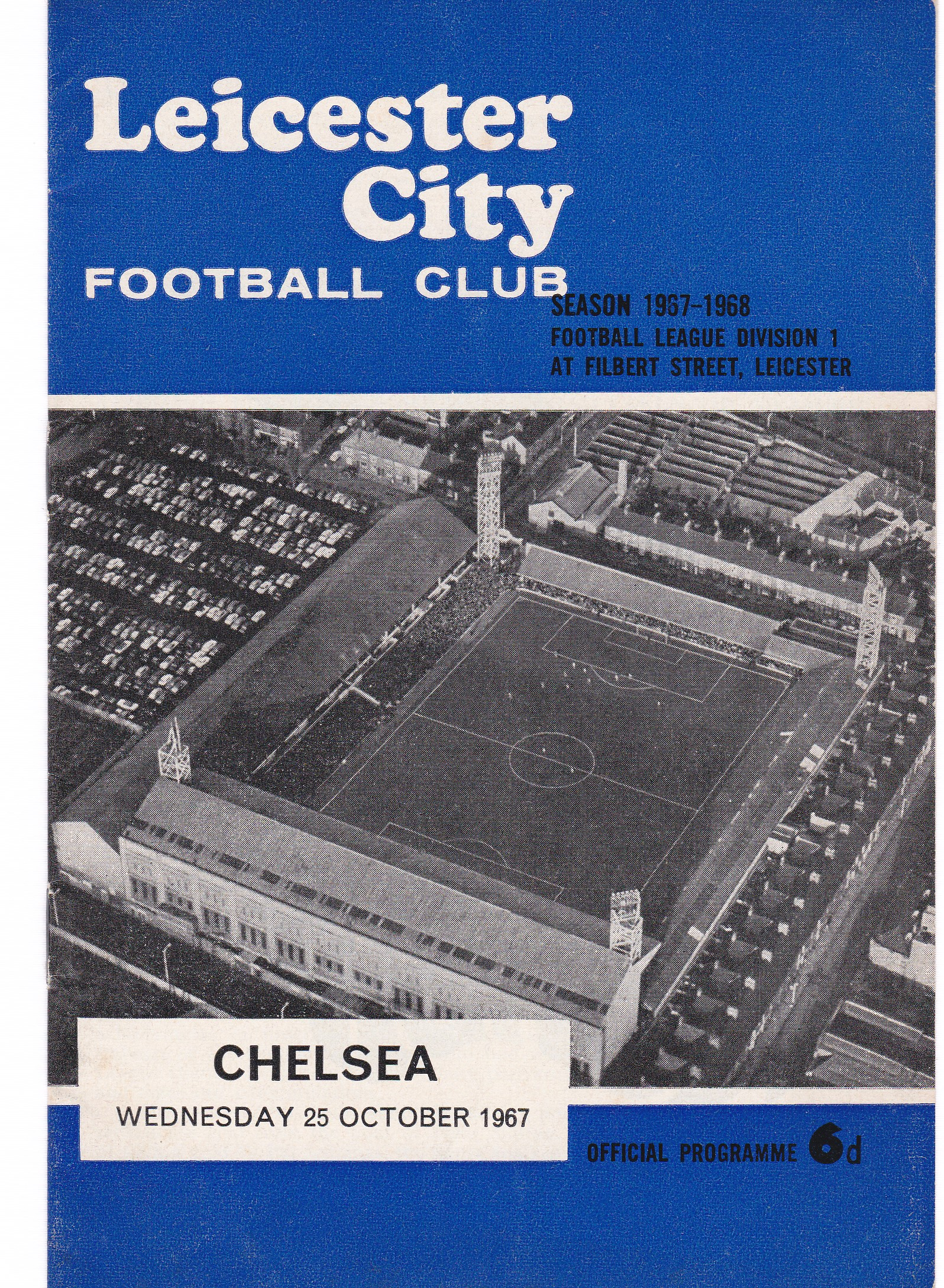 Leicester City v Chelsea 1967 October 25th League vertical crease