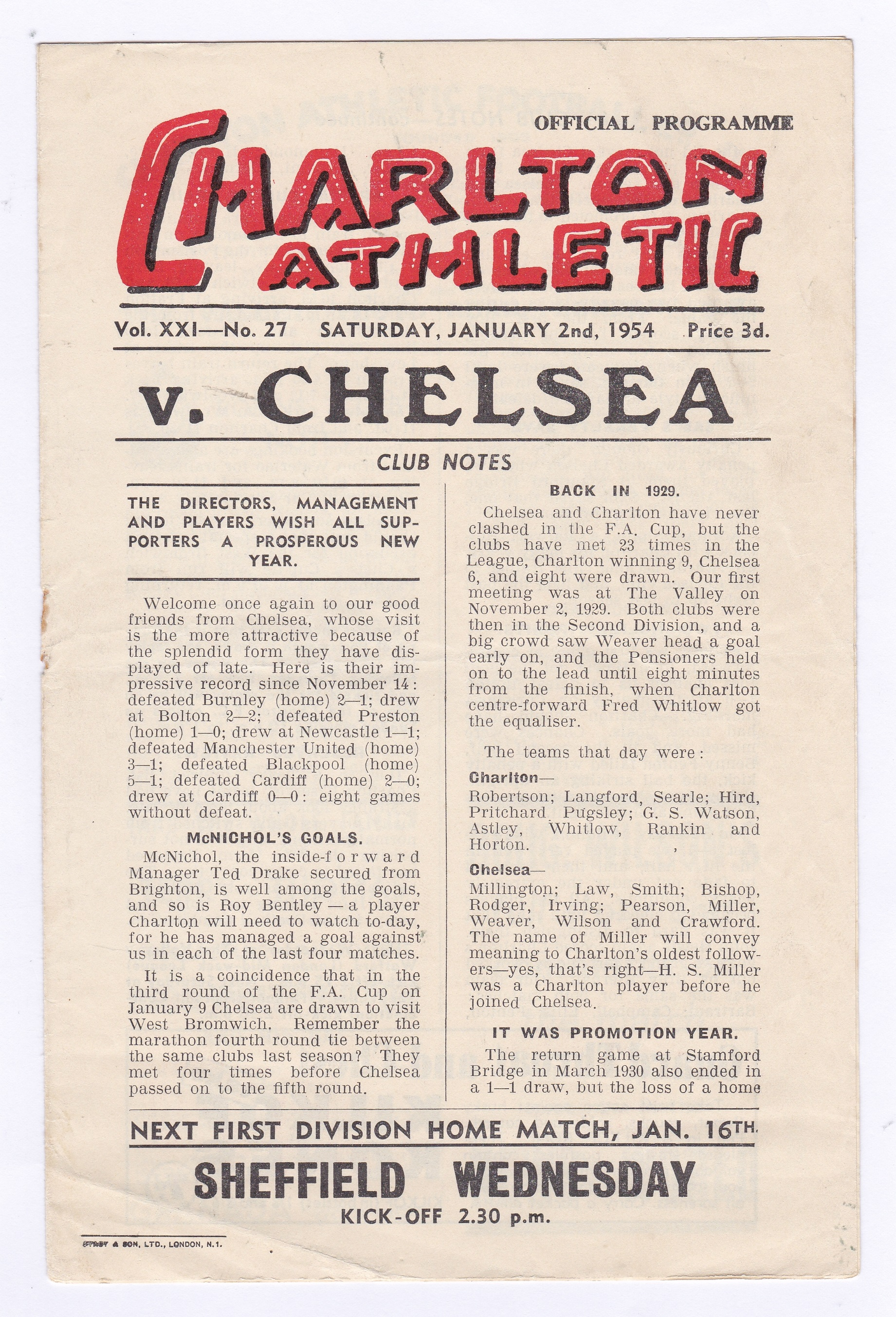 Charlton Athletic v Chelsea 1954 2nd January League Division 1 rusty staple