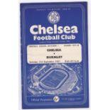 Chelsea v Burnley 1957 September 21st Div. 1 horizontal crease team change & score in pencil