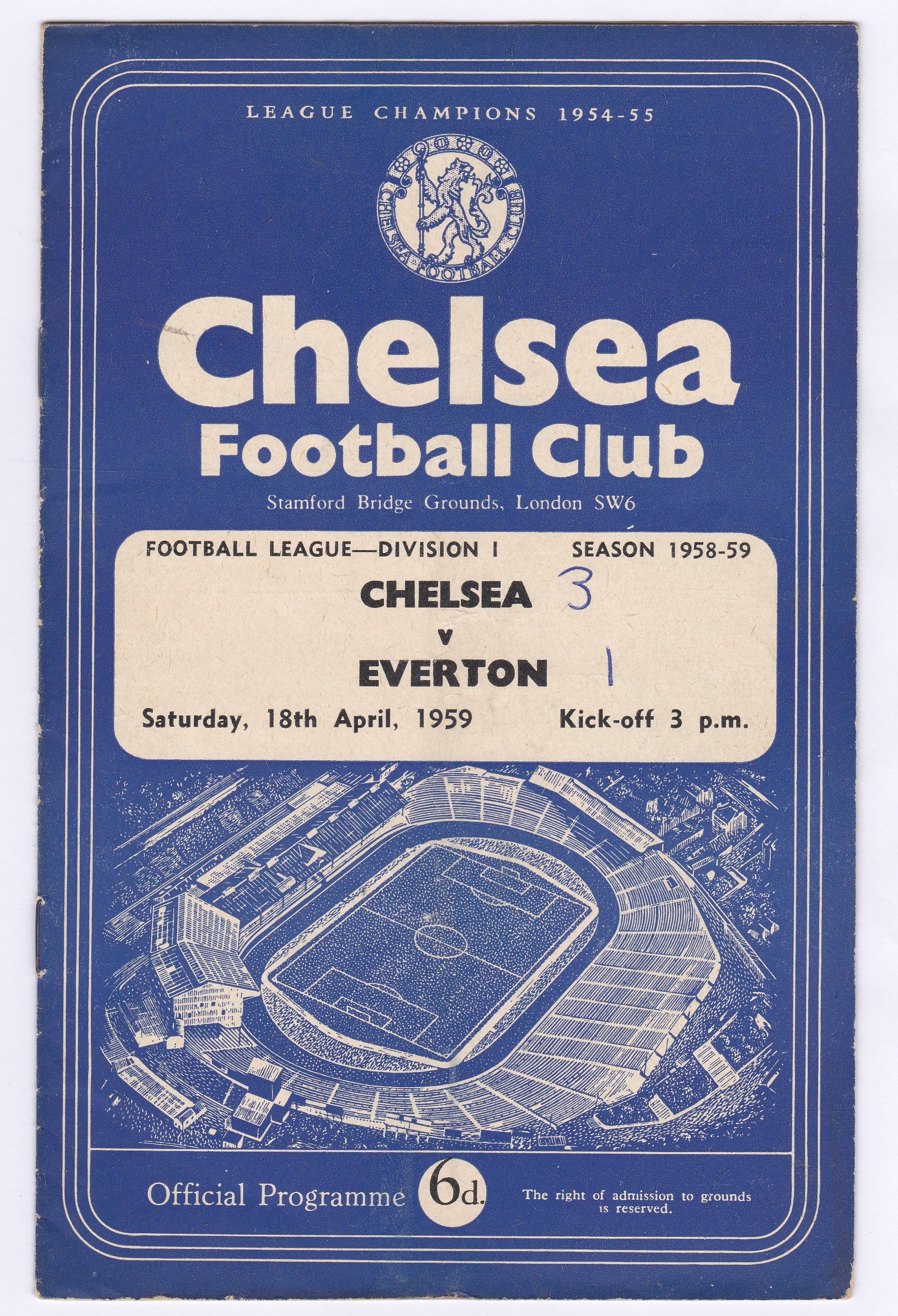 Chelsea v Everton 1959 April 18th Div. 1 front page & team page score in pen