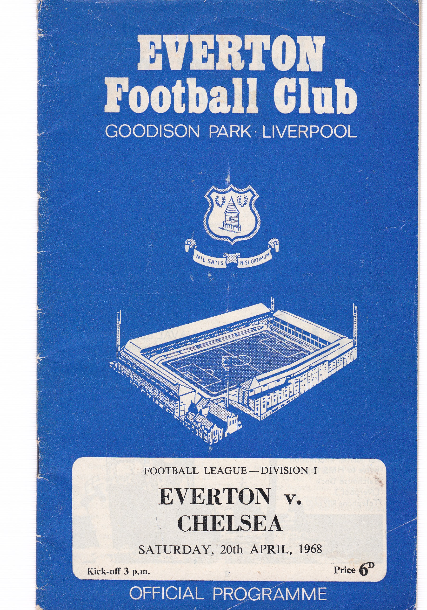 Everton v Chelsea 1968 April 20th League and courtesy of the club Football League Review vol 2 no