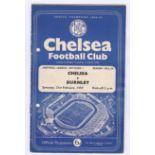 Chelsea v Burnley 1959 February 21st Div. 1 hole punched left