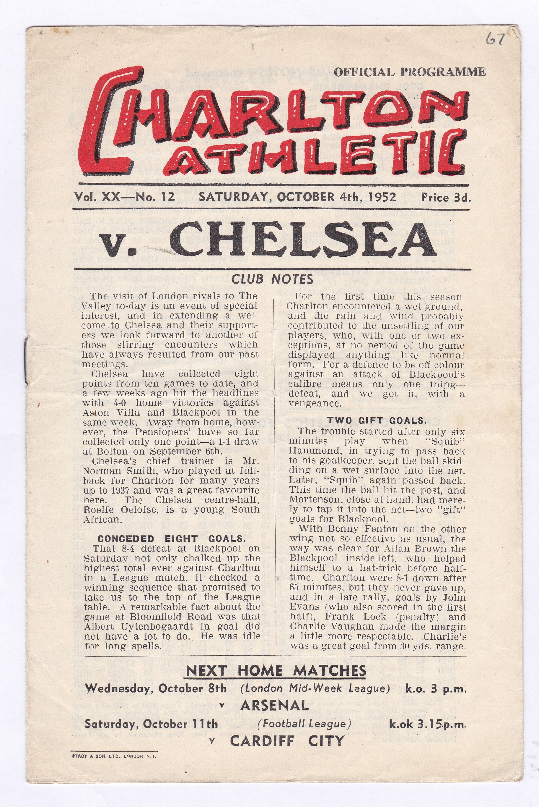 Charlton Athletic v Chelsea 1952 4th October League Division 1 vertical crease