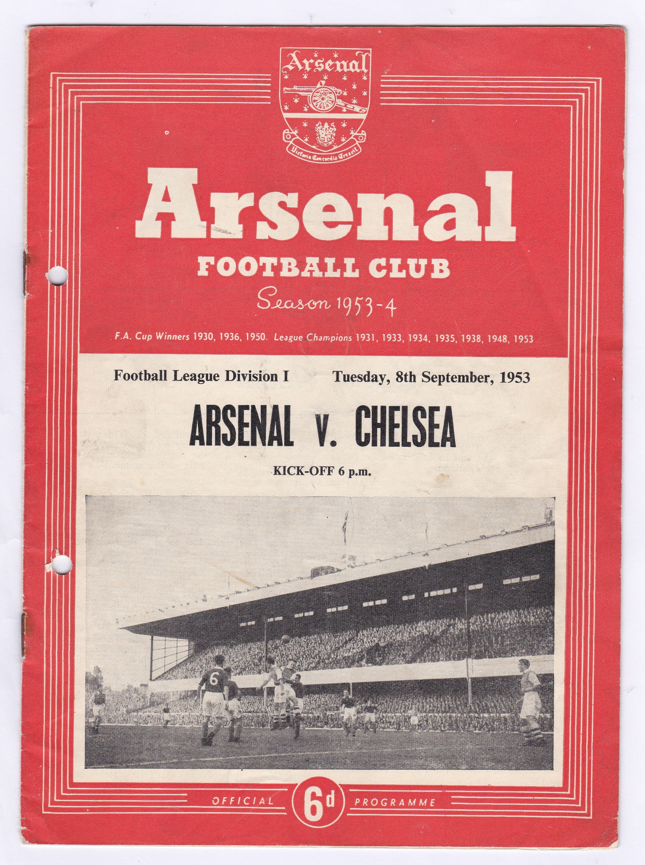 Arsenal v Chelsea 1953 8th September League Division 1 team change in pencil hole punched left