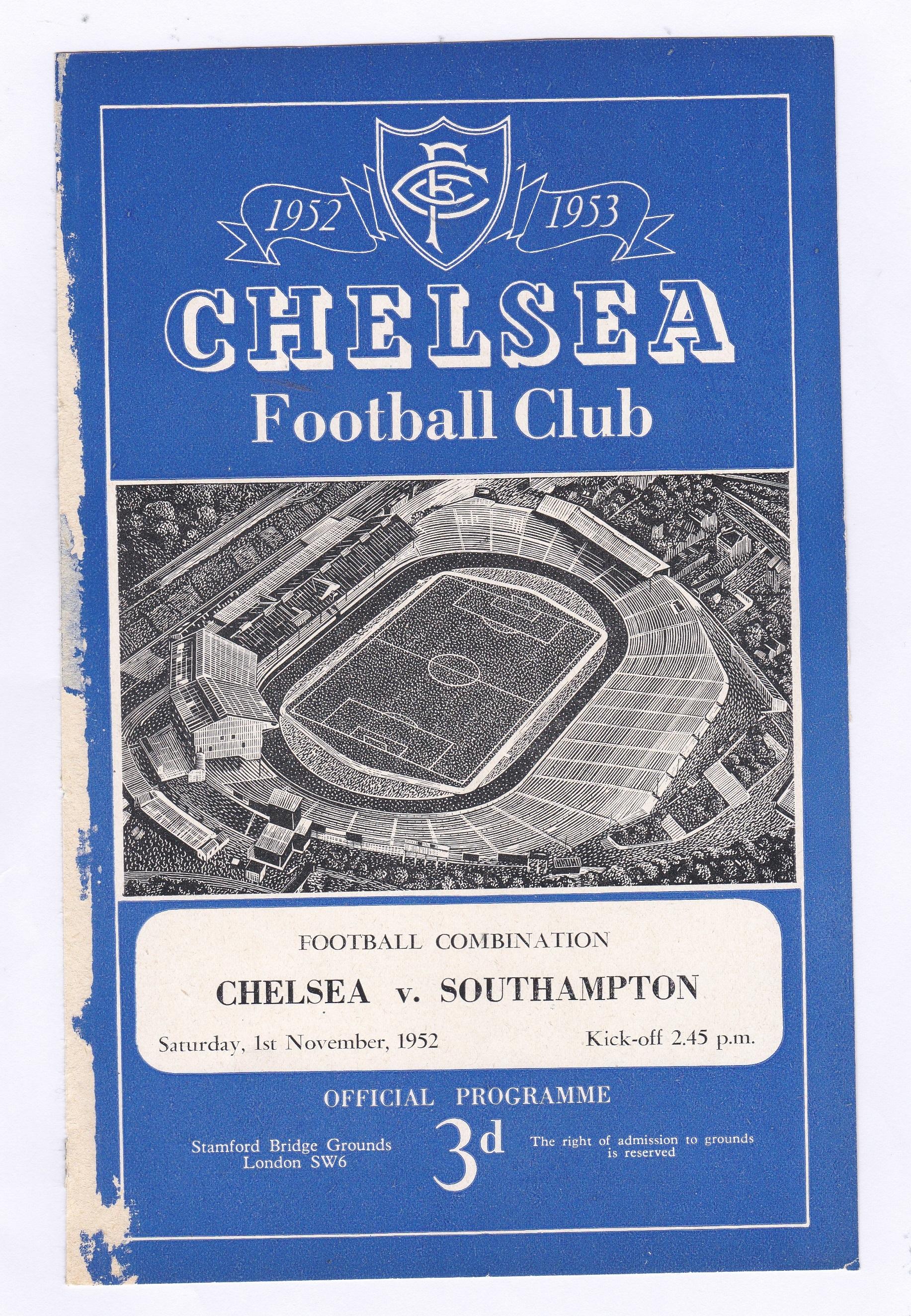 Chelsea v Southampton 1952 1st November Football Combination cover wear left side